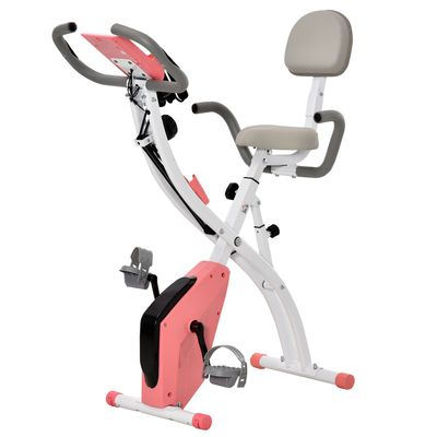 Soozier 2 in 1 Upright  Exercise Bike Stationary Foldable Magnetic Recumbent Cycling with Arm Resistance Bands Pink