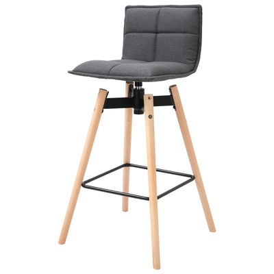 HOMCOM Modern Linen Fabric Upholstered Barstool Padded Chairs with Swivel Seat & Rubberwood Footrest  Dark Grey