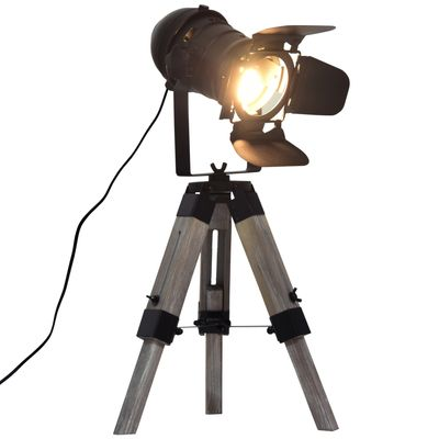 HOMCOM Retro Adjustable Table Lamp Portable Tripod Spotlight  Decorative Lighting  Black