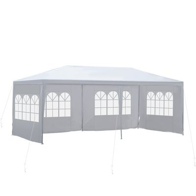 Outsunny 10' x 20' Gazebo Canopy Party Tent with 4 Removable Window Side Walls for Outdoor Event with Wind Ropes and Ground Stakes