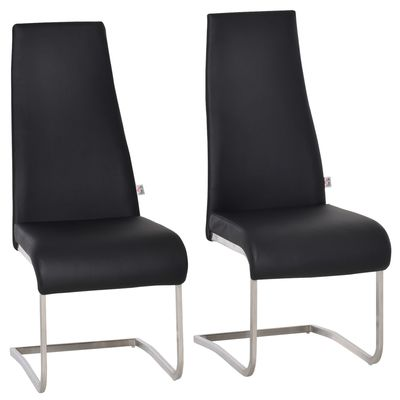 HOMCOM Set of 2 Dining Chairs High Back PU Leather Upholstered Accent Seats for Kitchen Living Room with Cantilever Steel Frame, Black