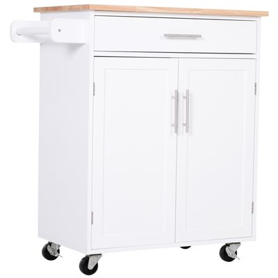 HOMCOM Kitchen Trolley Serving Cart Rolling with Drawer and Towel bar White