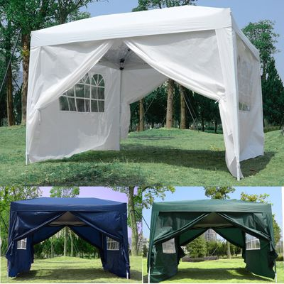 Outsunny 10x10ft Folding Tent Gazebo Pop Up Party Wedding Tent Portable Outdoor Sunshade