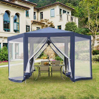 Outsunny Φ13' Outdoor Hexagon Gazebo Party Tent Outdoor Canopy Garden Sunshade with Fully Enclosed Mesh Sidewalls Blue
