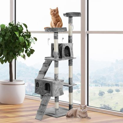 MIAO PAW 7Cat Tree Tower Condo Sisal Post Scratching Furniture Activity Center Play House Cat Bed Grey
