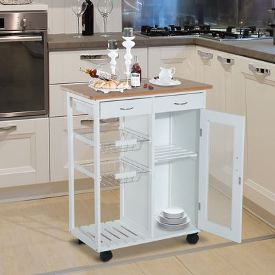 """HOMCOM 34"""" Rolling Kitchen Trolley with Drawer and Cabinet Serving Cart White"""