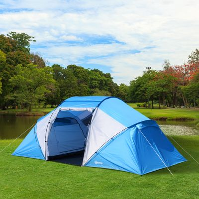 Outsunny Sport Camping Tent 2000mm Waterproof Instant Dome Tent Blue & White
