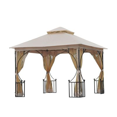 Outsunny 10x10ft Garden Gazebo Patio Canopy Double Tier Shelter with Mosquito Netting Beige