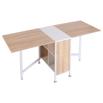 HOMCOM Multi-use Space Saving Folding Dining Table with Hideaway Shelves for Kitchen, Dining, Study and Office