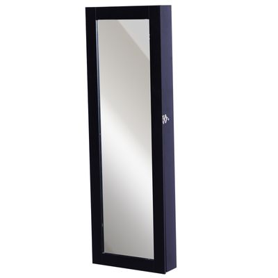 HOMCOM Black Mirrored Jewelry Cabinet Hanging Wall Mount Real Glass Mirror Locked (Black)