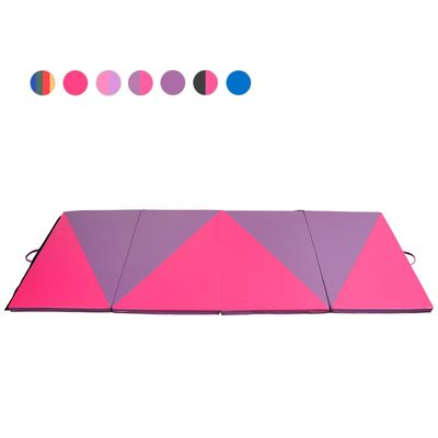 Soozier 4ftx10ftx2inch PU Leather Gymnastics Tumbling Gym Mat Arts Folding Yoga Exercise Pad 4 Panel Pink/Purple Triangle Pattern