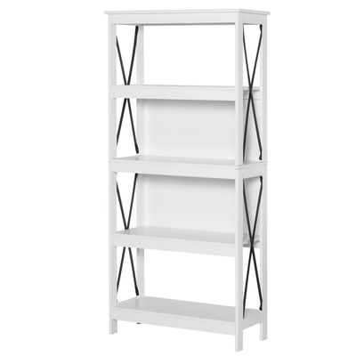 HOMCOM 4-Tier Bookcase Display Shelf Unit Storage Rack Organizer for Living Room  Office  White