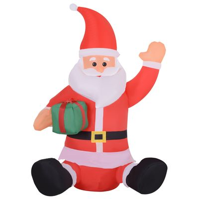 HOMCOM 3.9ft Outdoor Christmas Lighted Inflatable Santa Claus with Gift Box