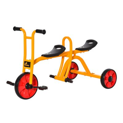Qaba Kids Tandem Tricycle 3 Wheels Toddler Bike Trike Baby Boys Girls w/ Double Seats Outdoor & Indoor for 3-5 Years Old Yellow