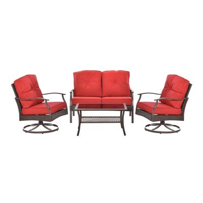 Outsunny 4 PCS Patio PE Rattan Wicker Sofa Sets Outdoor All Weather Conversation Furniture w/ Two Tier Tea Table & Olefin-Feel Cushions Red