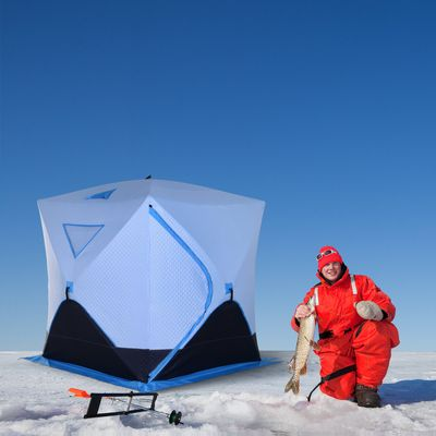 Outsunny Ice Fishing Tent 2-4 Person Portable Shelter with Ventilation Windows and Carry Bag Blue