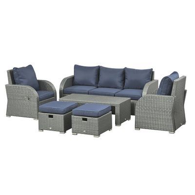 Outsunny 6pc Wicker Sectional Set Cushioned Outdoor Rattan 3-Seat Sofa  2 Adjustable Recliners  2 Footstools & Table Set Patio Furniture Dark Blue