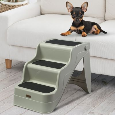 PawHut Pet Stairs Dogs and Cats Folding Ladder Puppy Portable 3 Steps Home Travel Using Cream