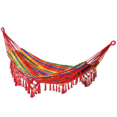 Outsunny Brazilian Style Hammock Extra Large Cotton Hanging Camping Bed with Carrying Bag, for Patio Backyard Poolside, Rainbow Stripe