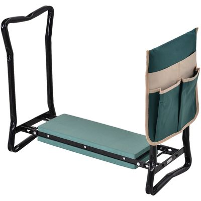 Outsunny Folding Garden Kneeler Stool Bench Thick Knneling Pad with Large Tool Pouch