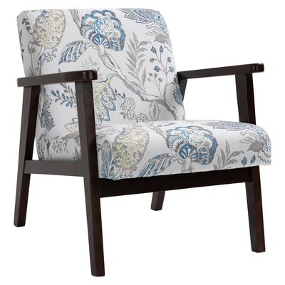 HOMCOM Flower Pattern Linen Dining Chair with Pine Wood Legs for Dining Room Office