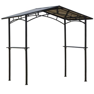 Outsunny 8' x 5' Grill Gazebo Outdoor BBQ Gazebo Canopy with Side Shelves PC Roof Aluminium