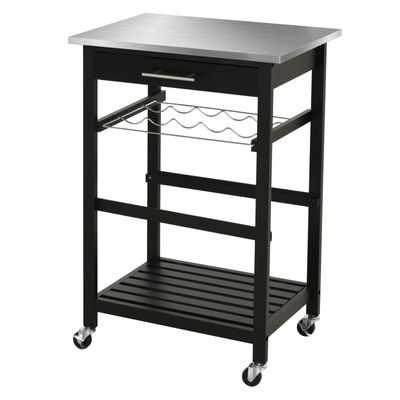 HOMCOM Room Essentials Portable Stainless Steel Top Kitchen Cart with Storage Drawer 3-Tier