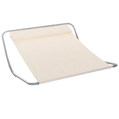 Outsunny Rocking Sun Lounger Double Hammock Bed with Steel Frame and Headrest for Garden Beach and Pool Cream White