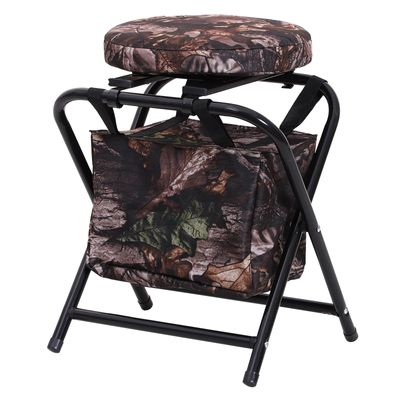 Outsunny Folding Lightweight Stool Chair w/ Zippered Storage Bag and Padded Seat Camouflage Cloth Outdoor Garden