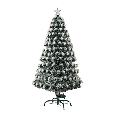 HOMCOM 4ft Xmax Tree Pre-Lit LED Optical Fiber Christmas Tree Artificial Winter Holiday Seasonal Decoration w/ Stand