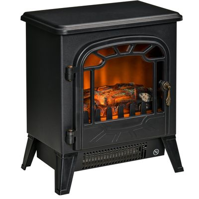 HOMCOM Freestanding Electric Fireplace Stove Heater with Realistic Flame Effect, Overheat Protection, 750W/1500W, Black