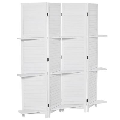 HOMCOM 4-Panel Wood Room Divider, 67'' Tall Folding Privacy Screen Panels with 3 Shelves for Indoor Bedroom Office, Blinds Style, White