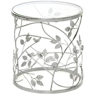 HOMCOM Tempered Glass Coffee Table Accent Side End Table with Vintage Style, Steel Frame for Living Room, Bedroom, Study, No Assembly Required, Silver
