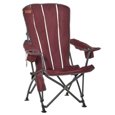 Outsunny Camping Folding Chair Portable Lawn Chair w/ Storage Pocket & Cup Holder Compact and Sturdy in a Bag for Outdoor, Beach, Picnic, Hiking, Travel, Wine Red