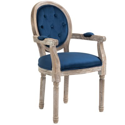 HOMCOM Vintage Frech Style Dining Chair Velvet Upholstered Seat with Solid Wood Leg Armrest for Kitchen Dining Living Room and Office  Navy Blue