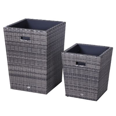 Outsunny Grey Rattan Flower Pot Small  Large Size Square Plastic Self Watering Planter