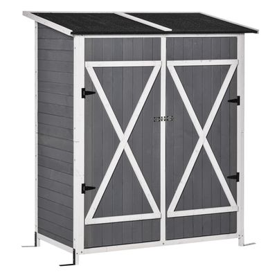 Outsunny 54.75''x29.5''x63'' Garden Storage Shed Asphalt Roof Wooden Timber Double Door Utility Storage House w/ Movable Shelf & Fixed Fittings