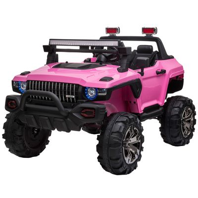Aosom Kids 12V RC 2-Seater Ride-On Toy Police Truck Electric Ride On Car, w/ Full LED Lights, MP3, Parental Remote Control for 3-8 Years Old Pink