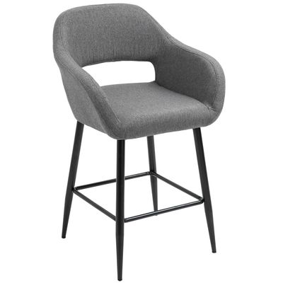 HOMCOM Modern Counter Height Barstools Linen Fabric Upholstered Chair with Footrest & Metal Legs,  Dark Grey