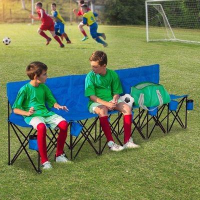 Outsunny 6 Seat Sport Bench Team Sport Camp Seat Folding Portable Outdoor Bench with Carrying Case and Cup Holder Black