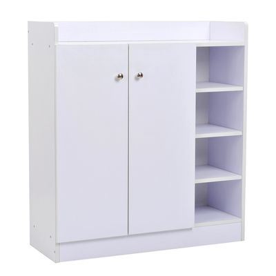 HOMCOM Wood Shoe Cabinet 2 Door 12 Pairs Entryway