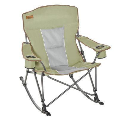 Outsunny Camping Folding Chair Portable Rocking Chair w/ Armrest & Cup Holder Compact and Sturdy in a Bag for Outdoor, Beach, Picnic, Hiking, Travel, Green