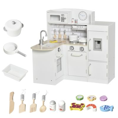 Qaba White Kids Kitchen Play Cooking Toy Set for Children with Drinking Fountain, Microwave, and Fridge with Accessories White