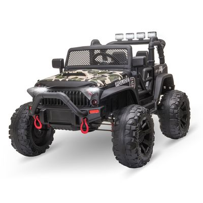 Aosom 12V Power Wheels Jeep 2-Seater Kids Electric Ride On Police Car Truck Toy With Remote For 3 - 8 Years Old Kids Camouflage Green
