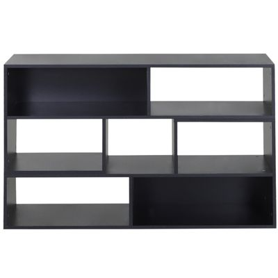 HOMCOM Versatile TV Console  Stand Cabinet Wood Bookcase Storage Shelf Convertible Bookshelf Black