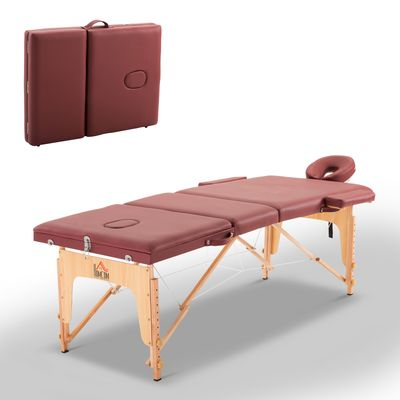 HOMCOM 3 Fold Massage Table w/ Carry Case Foldable Facial Spa Couch Dark Red