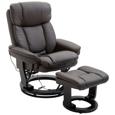 HOMCOM Massage Sofa Recliner Chair with Footrest 10 Vibration Point Faux PU Leather Brown