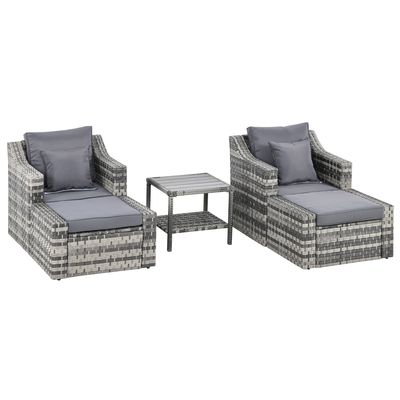 Outsunny 5-Piece Patio Rattan Wicker Conversation Set Outdoor Furniture with 2 Cushioned Armchair, 2 Ottomans and Coffee Table, Grey