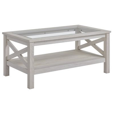 HOMCOM Coffee Table Sofa Desk Tempered Glass Table Top with Storage Shelf for Living Room, Bedroom