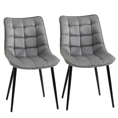 HOMCOM Upholstered Dining Chair Lounge Chair Soft Set of 2 Velvet-Touch Kitchen Reception Living Room Chair with Metal Legs, Grey